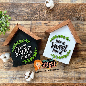 Home sweet home shelf sitting house wood decor