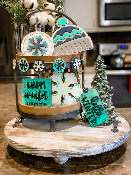 Snowflake Winter themed tiered tray