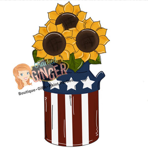 Sunflowers in patriotic milk can