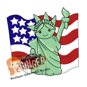 Independence Day USA Statue of Liberty and flag