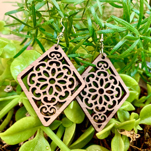 Diamond Mandala Walnut Laser Cut Earrings