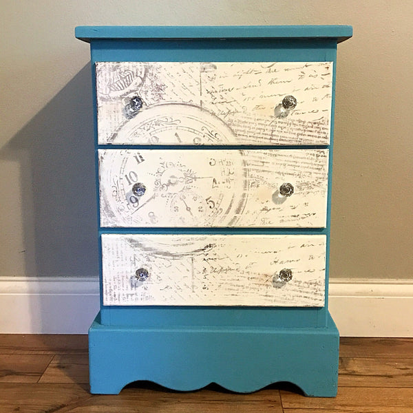Turquoise and White 3 Drawer Side Table