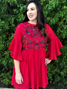 ALEEA DRAPED TUNIC IN STRAWBERRY