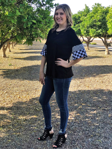 BREA CHECKERED BELLE TOP