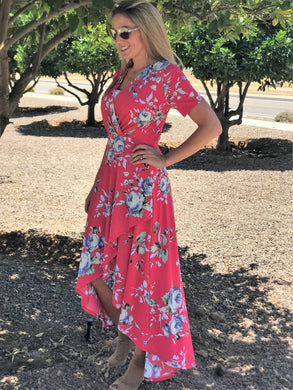 TIFFANY FLORAL MAXI IN FUSCHIA