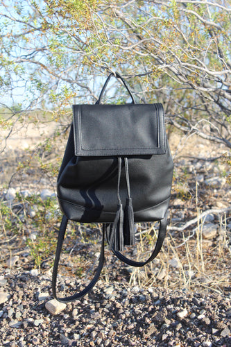 BLACK TASSEL BACKPACK PURSE