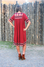 SYDNEY EMBROIDERED DRESS IN BRICK