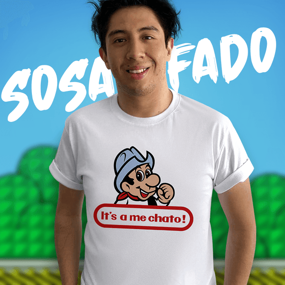 Playera UNISEX It's a me chato (blanca)