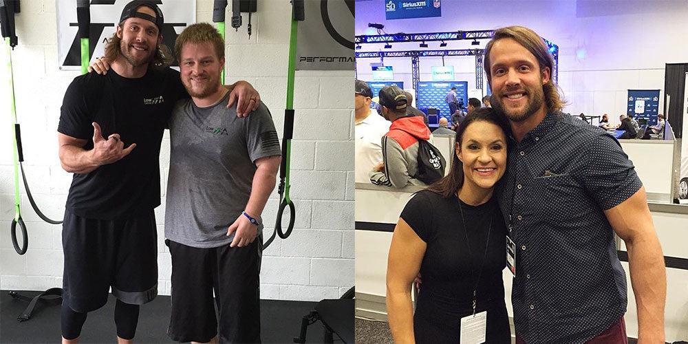Pro Football Player and adaptive athlete in gym