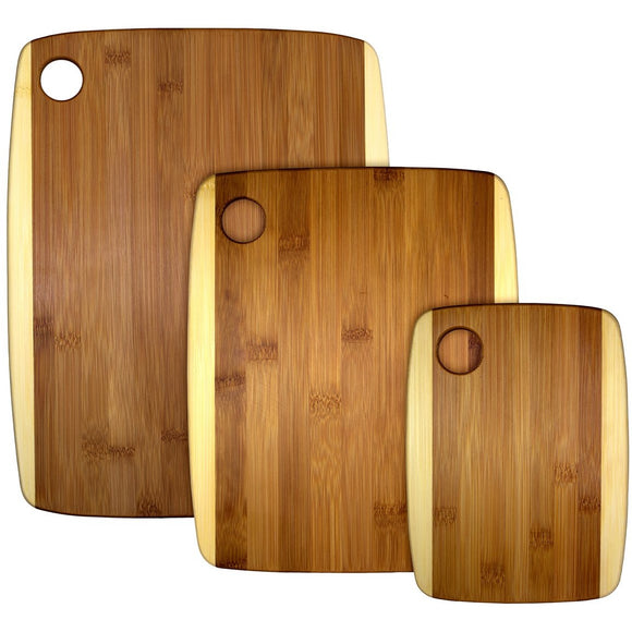 Bamboo 3 Piece 2 Tone Cutting Board Set