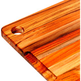 Teak Cutting Board with Corner Hole and Gutter