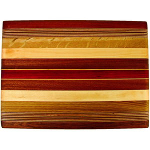 Acacia Rectangular Striped Board on Small Feet