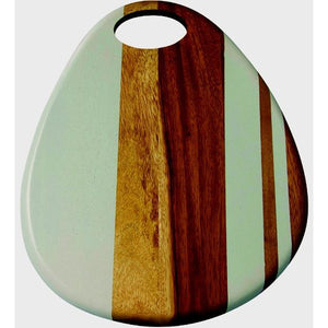 Acacia Teardrop Cutting Board Large White Stripe