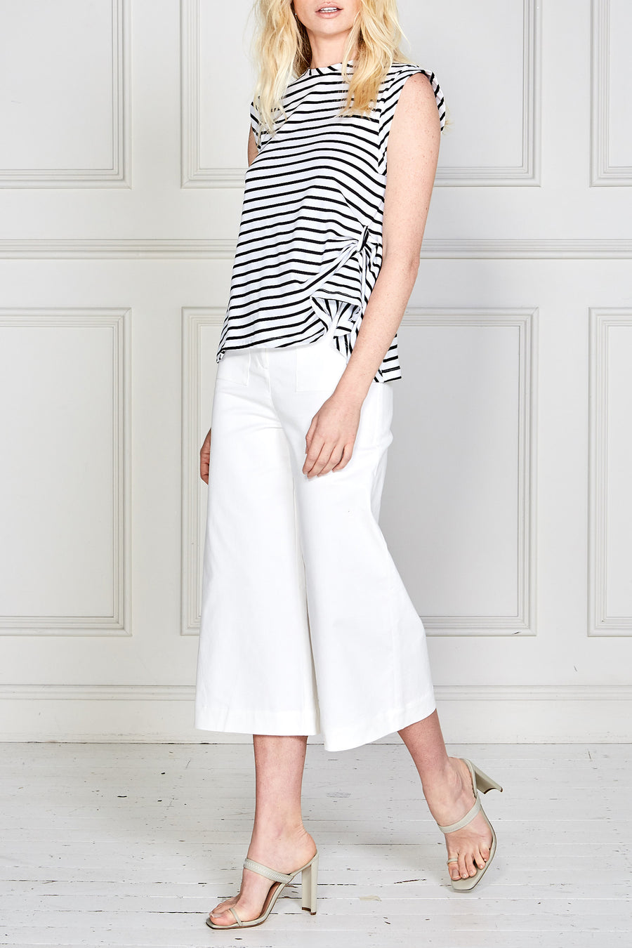 Petunia Drape Top (Black/White Stripe)