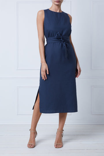 Iris Midi Shift Dress (Navy)