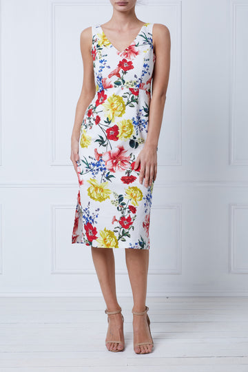 Botanical Twist Back Midi Dress