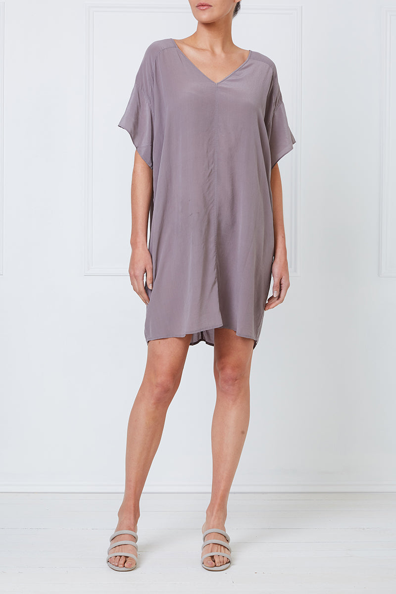 Silk Reversible Boxy Tee Dress (Pebble)