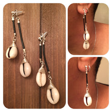 Hanging Wrapped Cowries Dangle Earrings