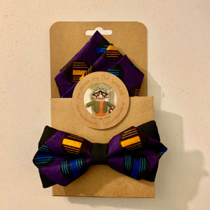 African Print Pointed Bow Tie and Pocket Square