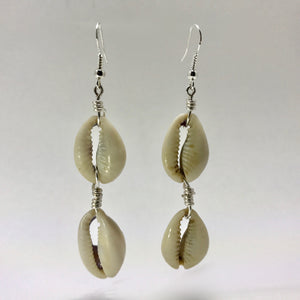 """Double Take"" Cowrie Shell Dangle Earrings"