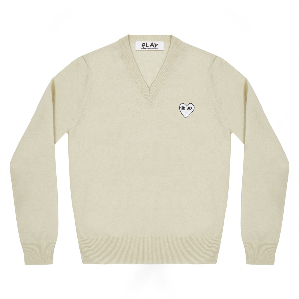 COMME DES GARCONS - PLAY WHITE HEART PULLOVER (NATURAL) MENS