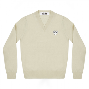 Comme des Garcons PLAY White Heart V-Neck Sweater