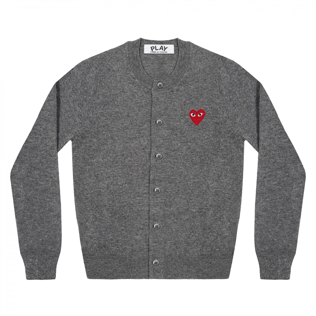 COMME DES GARCONS - PLAY RED HEART CARDIGAN (GREY) WMNS