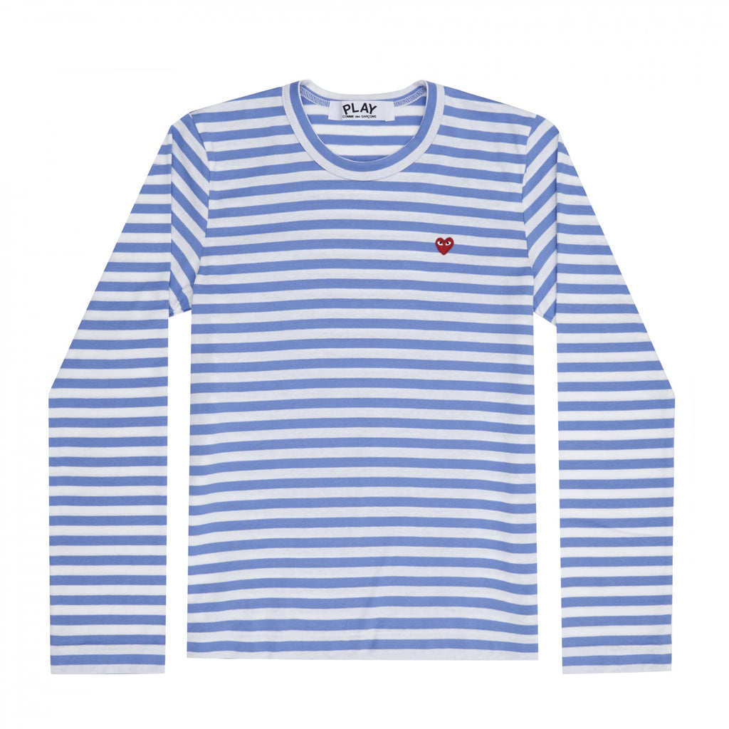 COMME DES GARCONS - PLAY STRIPED T- SHIRT SMALL RED HEART (BLUE) MENS