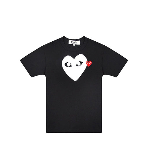 Play T-Shirt with White Heart (Black)