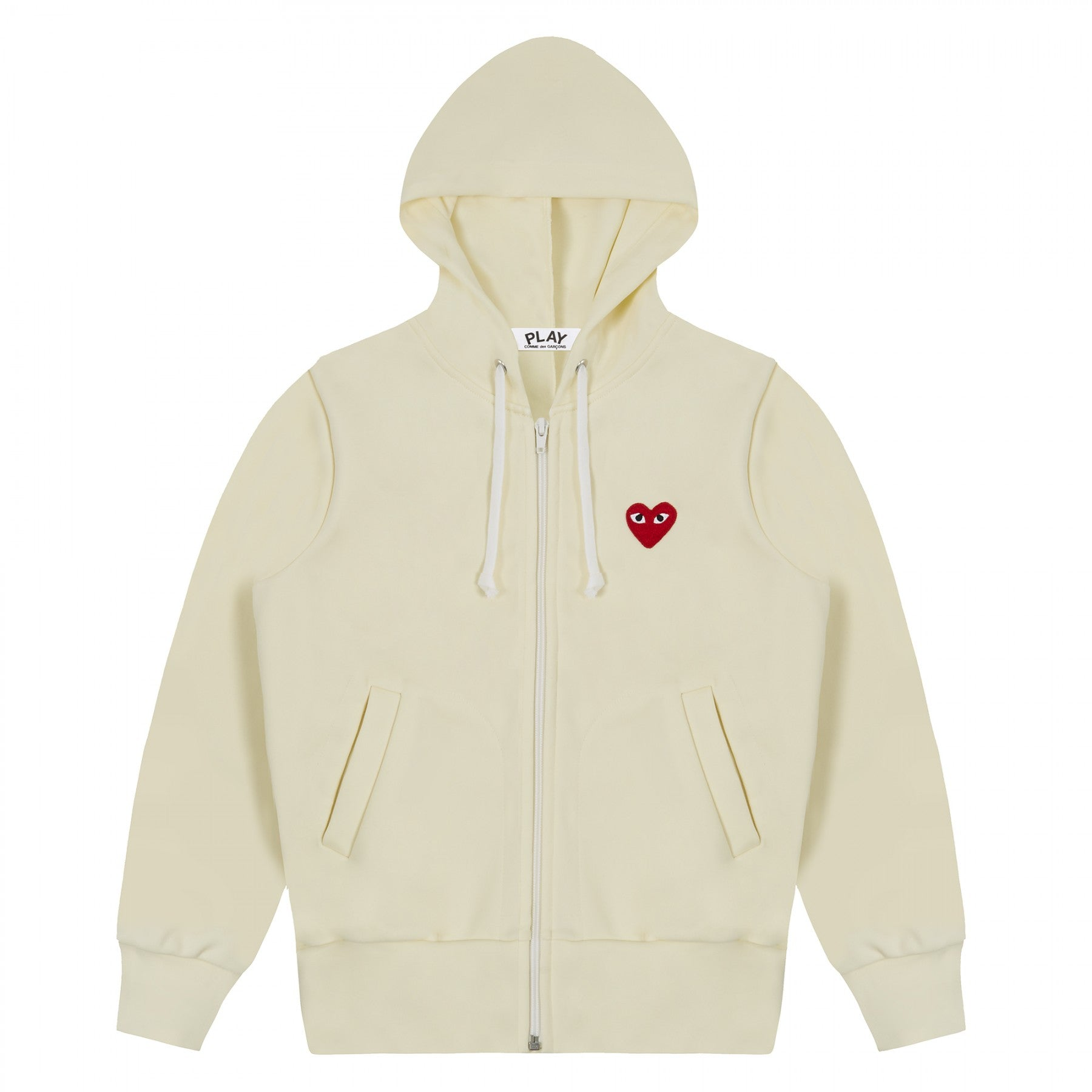 COMME DES GARCONS - PLAY ZIP HOODED SWEATSHIRT (IVORY) WMNS