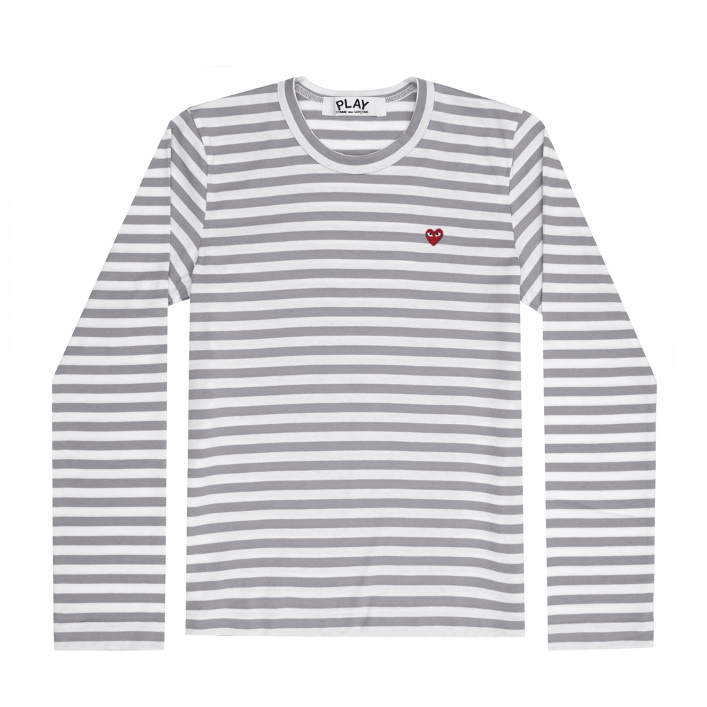 COMME DES GARCONS - PLAY STRIPED T- SHIRT SMALL RED HEART (GREY) MENS