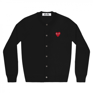 COMME DES GARCONS - PLAY RED HEART CARDIGAN (BLACK) WMNS