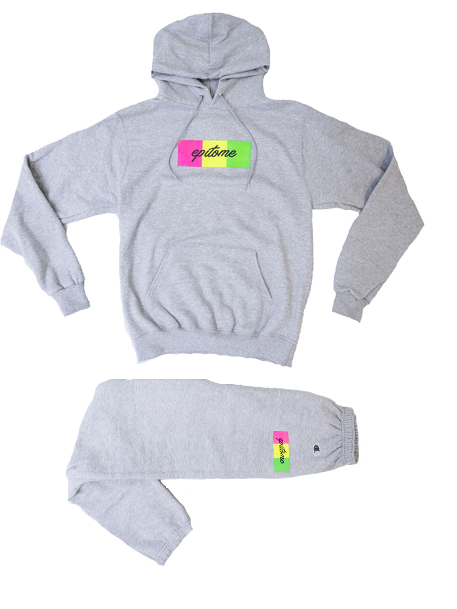 "EPITOME x CHAMPION- ""1995"" RETRO CHAMPION HOODIE  SET (GREY/ MUTLI)"