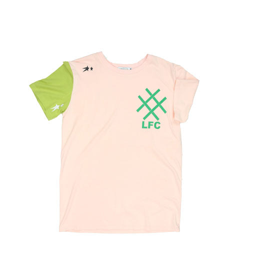 LUCID FC - TEXT LOGO T-SHIRT (PINK/GREEN)