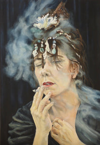 """ Smoking & Blue"" self portrait artist"