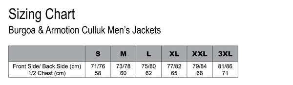 Sizing Chart Burgoa & Armotion Mens Outdoor Jacket