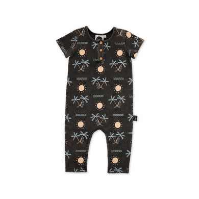 KaPow Kids - Short Sleeve Jumpsuit - Sunseeker Acid Black