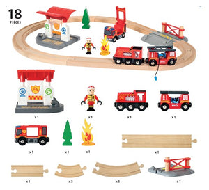 Brio - Firefighter Train Set - Flat