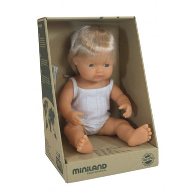 Miniland - Baby Doll - Caucasian Boy 38cm - Blonde Hair