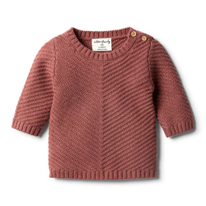 Wilson & Frenchy - Knitted Chevron Jumper - Chilli Marle
