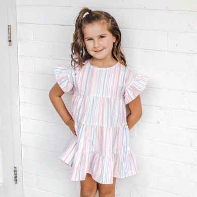 Little Hearts Co - Frilly Tiered Dress - Sorbet Stripe