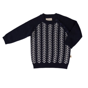 Jujo Baby - Feathered Line Jumper - Navy/Ecru