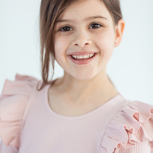 Little Hearts Co - Longsleeve Double Frill Leotard - Blush