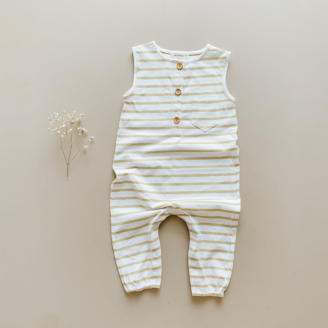 Two Darlings - Button Up Romper - Golden Stripe