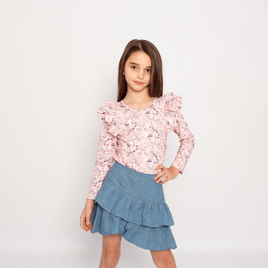Little Hearts Co - Longsleeve Double Frill Leotard - Blossom
