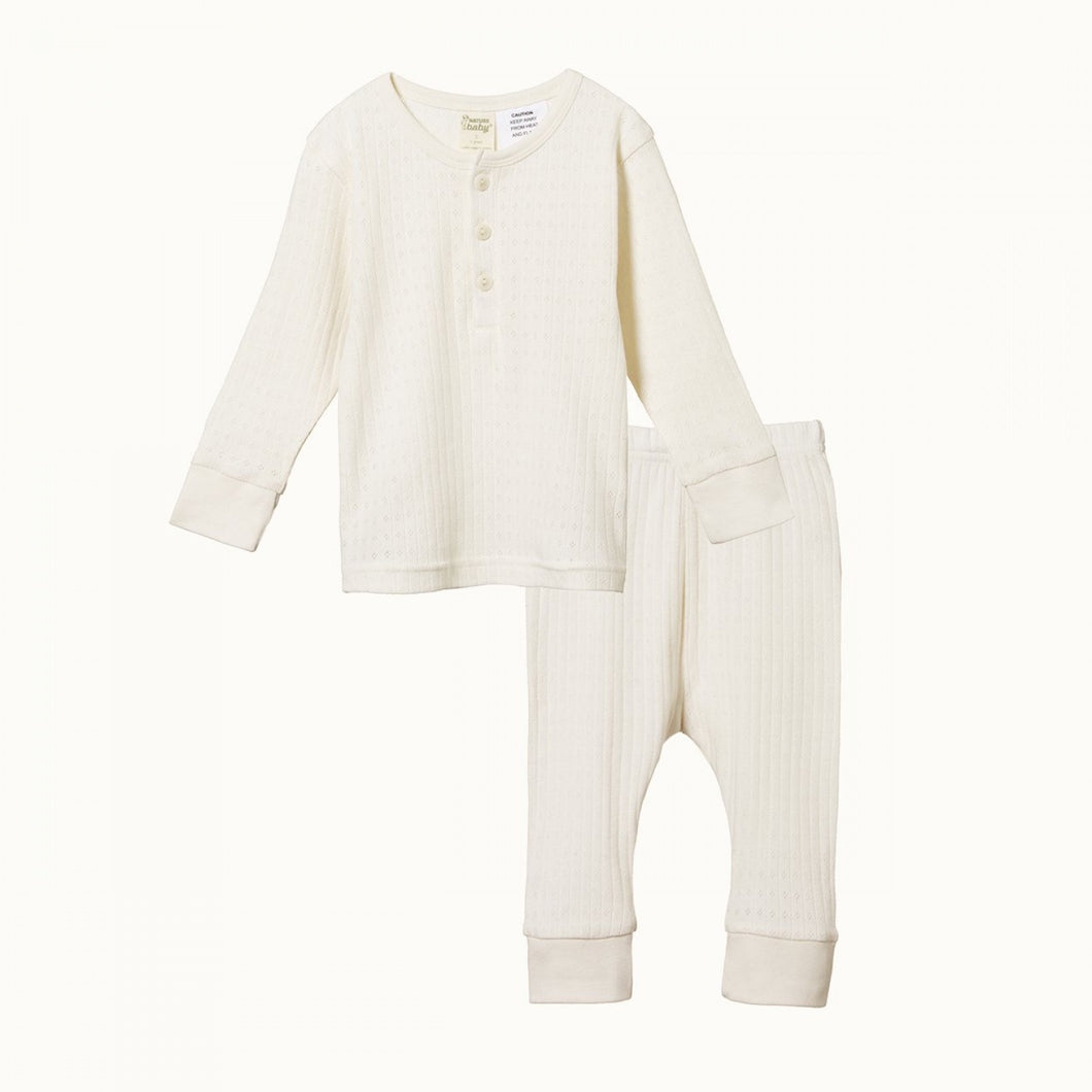 Nature Baby - L/S Pointelle PJ Set - Natural