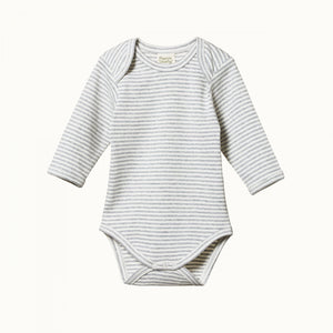 Nature Baby - L/S Bodysuit - Grey Marle Stripe