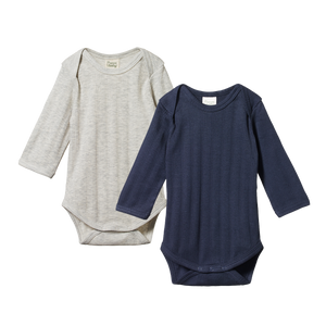 Nature Baby - 2 Pack Derby L/S Bodysuits - Navy/Grey Marl