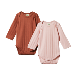 Nature Baby - 2 Pack Derby L/S Bodysuits - Rose Bud/Terracotta