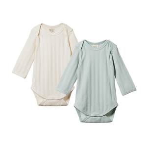Nature Baby - 2 Pack Derby L/S Bodysuits - Natural/Sea
